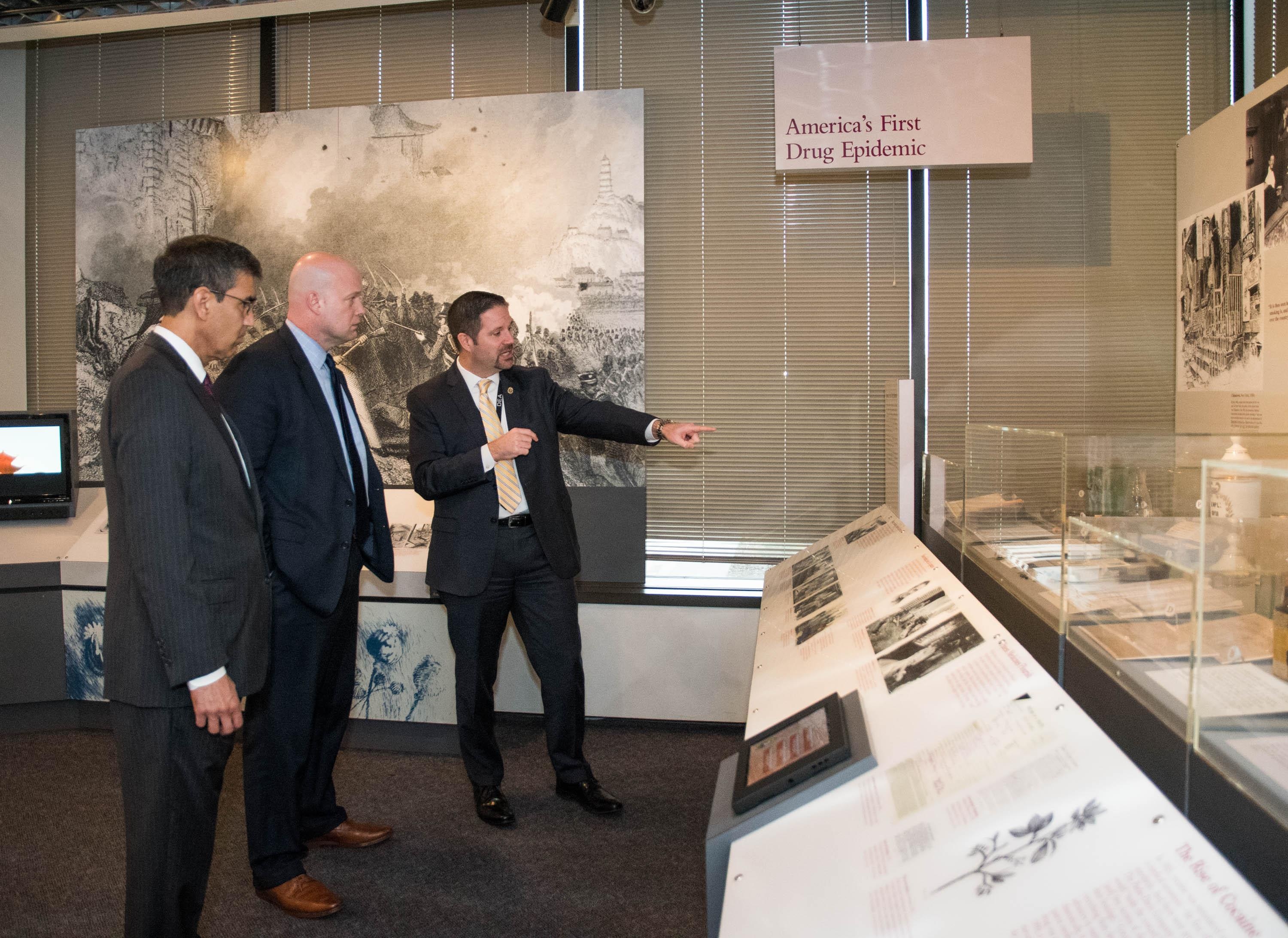 AAG Whitaker visiting the DEA museum with AA Dhillon and Museum Chief