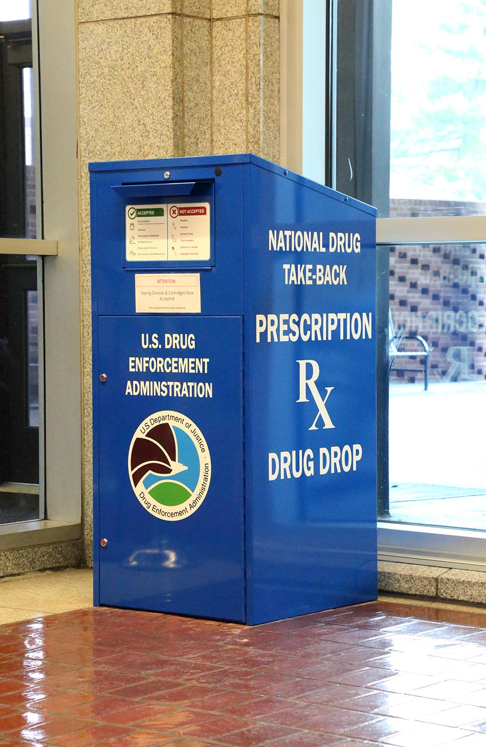 DEA's new drug collection box in the lobby of the Mazzoli Federal Building in Louisville, Kentucky.