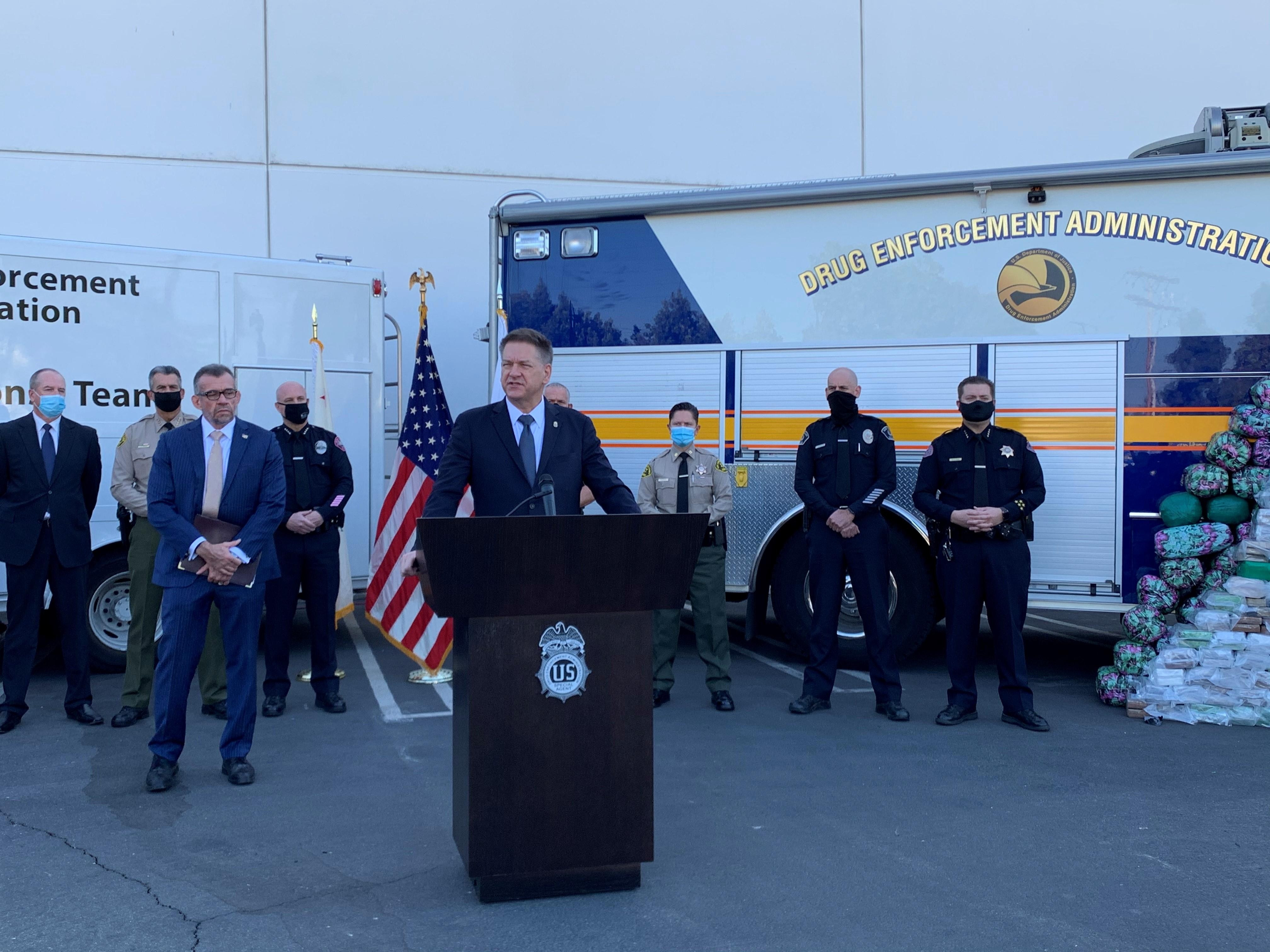 DEA Acting Administrator Timothy J. Shea and Los Angeles Field Division Special Agent in Charge Bill Bodner speaking at the press conference
